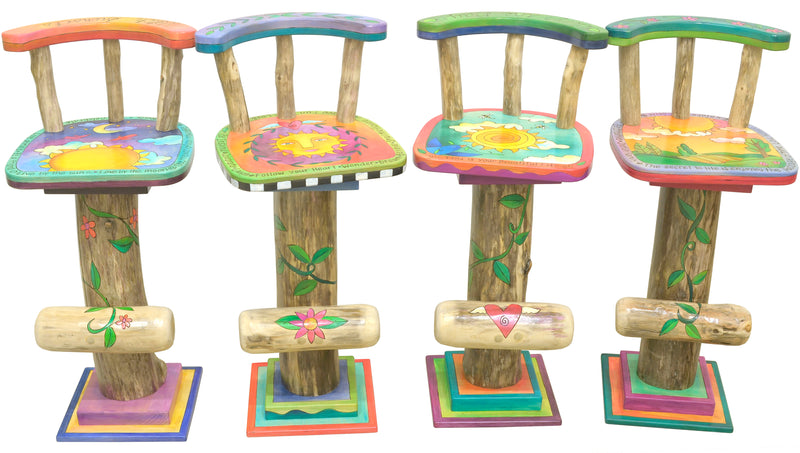 Whimsical and vibrant celestial sunny sky stool motifs, front view set of 4