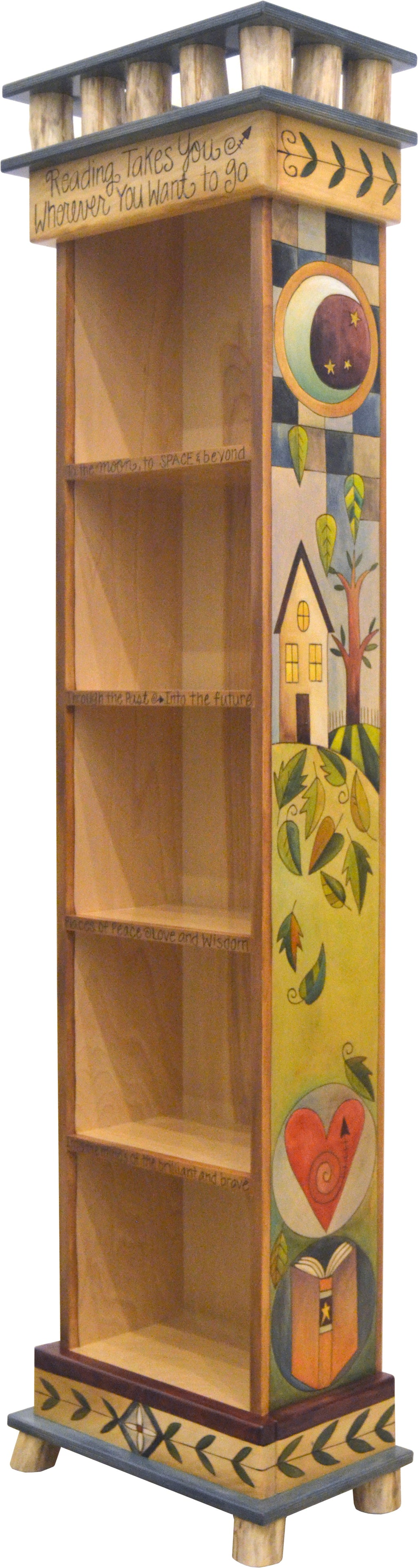 Beautiful bookcase with encircled icons, falling leaves, and blue patchwork accents