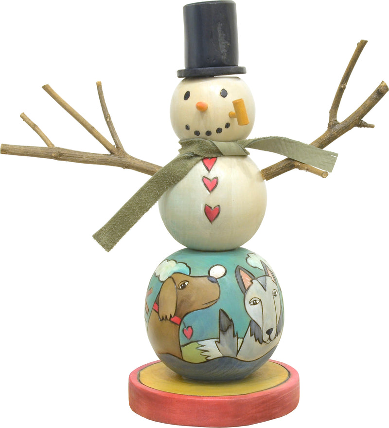 """Let's play"" snowman with playful pups design, front view"