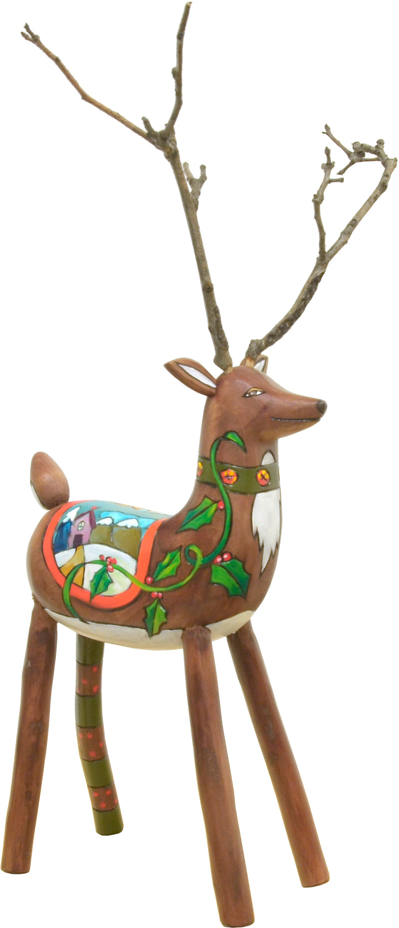 Santa's reindeer with a winter scene on its blanket, front view