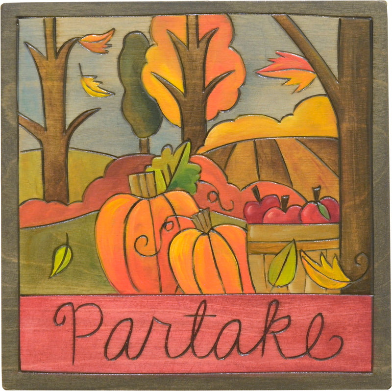 """Partake"" in fall harvest plaque"