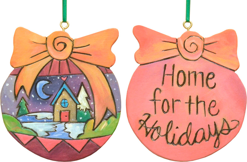 """Home for the holidays"" with a snowy winter landscape motif"
