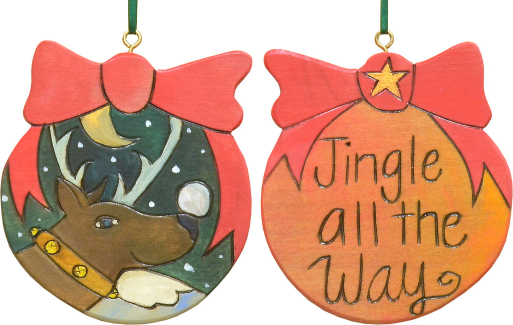 """Jingle all the way"" ornament with a playful reindeer"