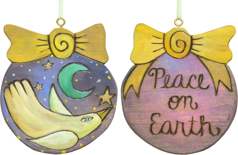 """Peace on earth"" with a soaring peace dove in a night sky motif"