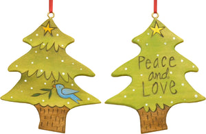 """Peace and love"" tree ornament with white polka dots and a cute little bird"