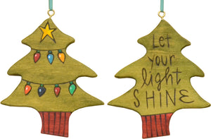 """Let your light shine"" ornament with colorful Christmas lights"
