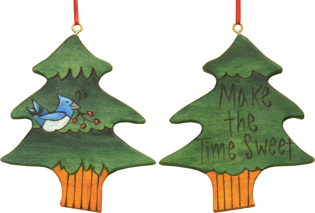 "Sweet and simple ""make the time sweet"" tree ornament with a blue jay"