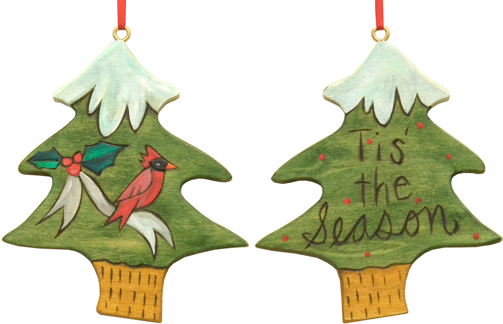 "Snow topped ""tis the season"" tree ornament with a winter cardinal"