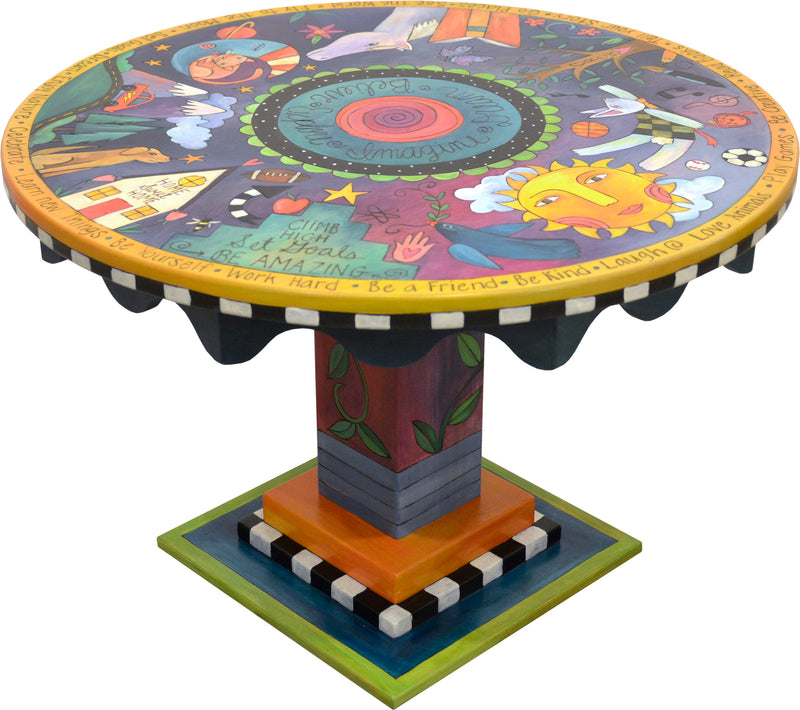 Adorable imagination themed kid's table with cute coordinating heart and star short stools, table side view