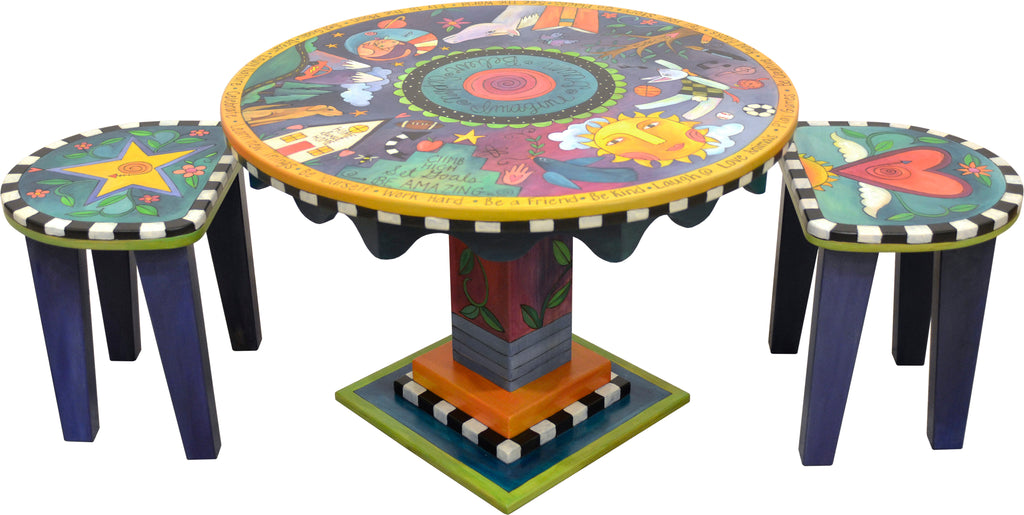 Adorable imagination themed kid's table with cute coordinating heart and star short stools, side view including stools