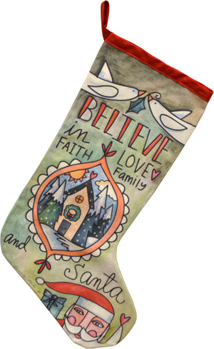 """Believe"" Stocking – ""Believe"" in all the wonder of the holiday season front view"