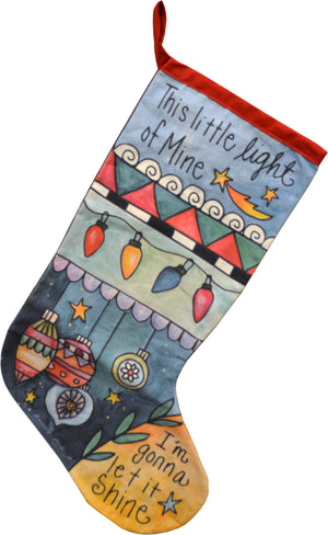"""Shine"" Canvas Stocking – ""I'm gonna let it shine"" Christmas song stocking motif front view"