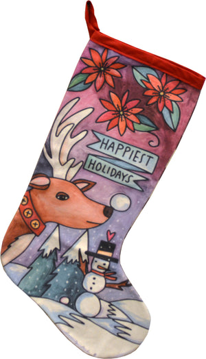 """Happiest Holiday"" Canvas Stocking – Rudolph wishes you the ""happiest holidays"" in a winter wonderland design front view"