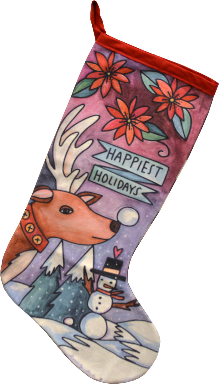 """Happiest Holiday"" Canvas Stocking"