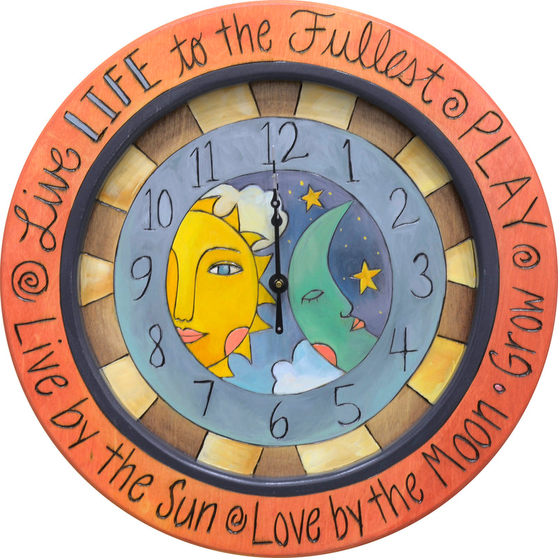 "14"" Round Wall Clock –  ""Live life to the fullest, play"" celestial sun and moon clock motif"