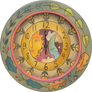 "14"" Round Wall Clock –  Gorgeous four seasons flora vine and celestial theme clock motif"