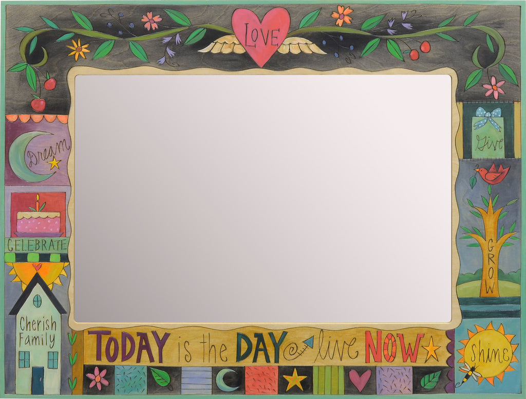 "Rectangular Mirror –  ""Today is the day"" crazy quilt motif with a floral vine stretching across the top"