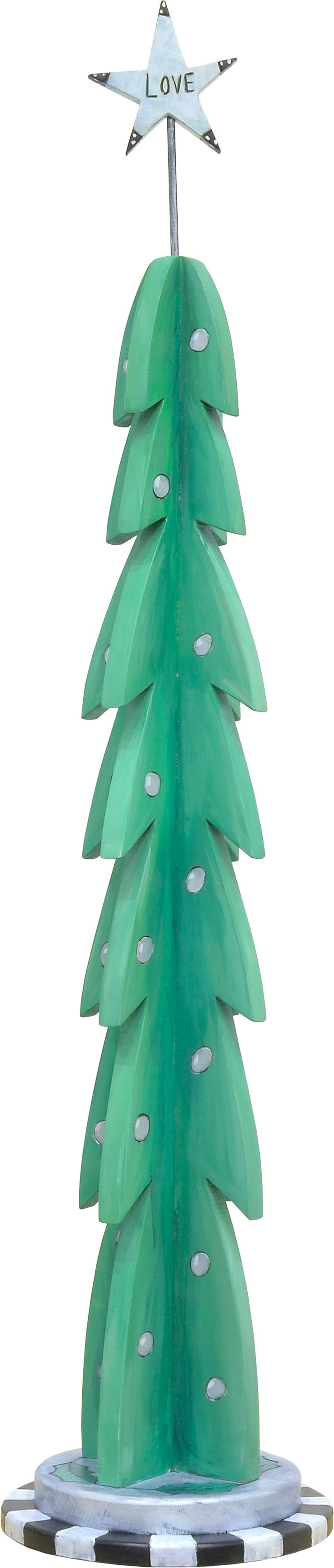 Large Christmas Tree Sculpture –  Christmas tree sculpture with shiny silver decorations