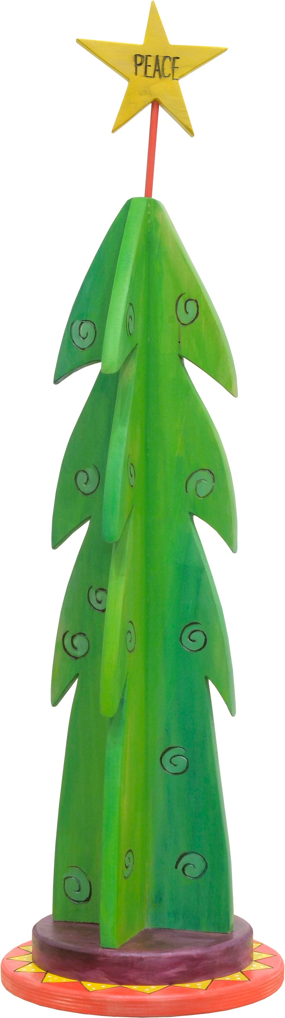 "Medium Christmas Tree Sculpture –  Christmas tree sculpture with a ""peace"" on Earth star topper"