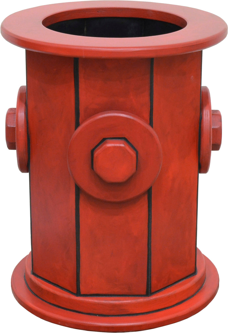 Sticks handmade custom fire hydrant dog bowl stand, front view