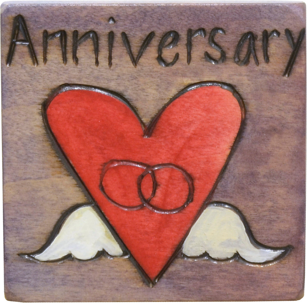 "Large Perpetual Calendar Magnet –  ""Anniversary"" magnet with rings in a heart with wings motif"