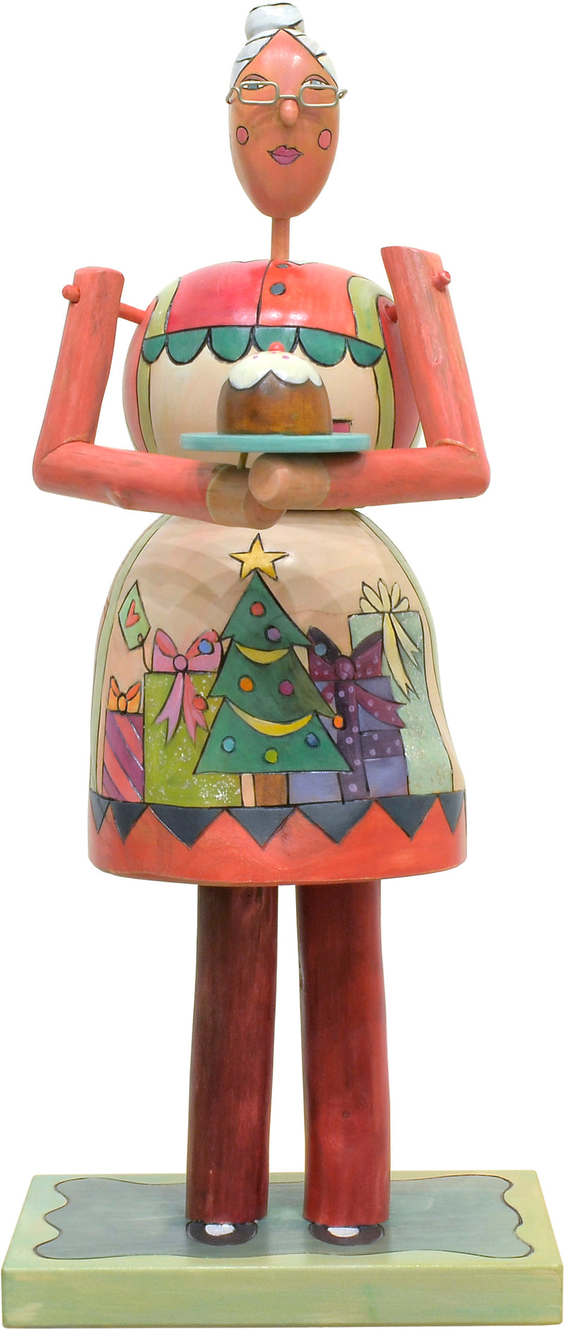 Mrs. Claus Sculpture –  Red Mrs. Claus with a Christmas gift apron