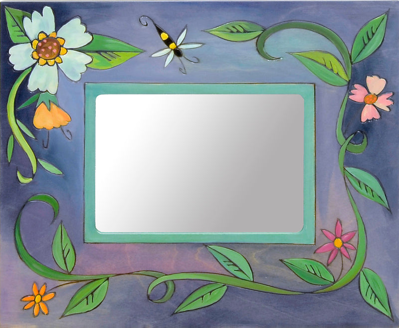 Beautiful blue frame with a twisting floral vine
