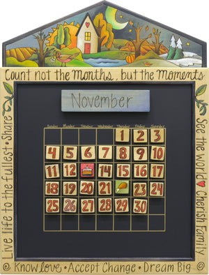 Small Perpetual Calendar –  Beautiful elegantly painted four seasons landscape motif calendar
