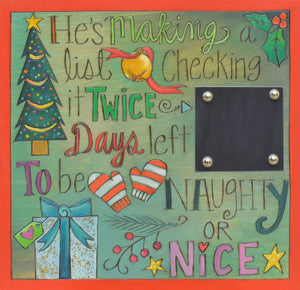 "Christmas Countdown Plaque –  ""Days left to be naughty or nice""! Countdown the number of days until Santa arrives!"