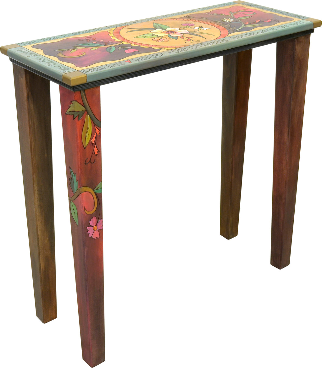 Sticks handmade console table with floral motif