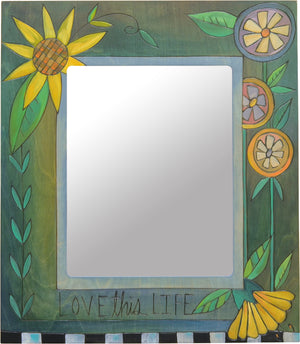 "Beautiful blue ""love this life"" frame with contrasting yellow flowers"