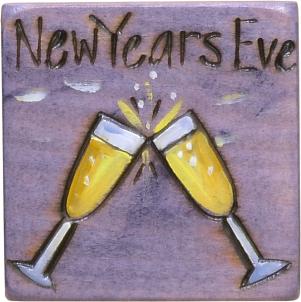 """New Year's Eve"" champagne glasses clinking motif magnet"