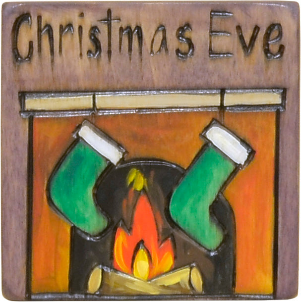 """Christmas Eve"" fireplace mantel and stockings magnet motif"