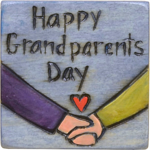 "Large Perpetual Calendar Magnet –  ""Happy Grandparent's Day"" with cute holding hands and a heart motif"