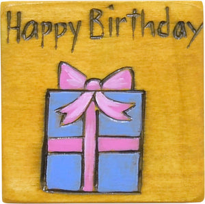 "Large Perpetual Calendar Magnet –  ""Happy Birthday"" and a cute wrapped present calendar magnet motif"