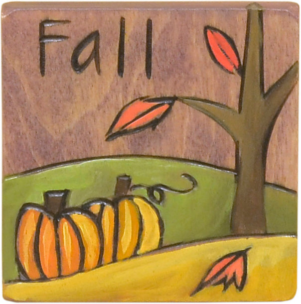 """Fall"" autumn landscape with pumpkins next to falling leaves motif magnet"