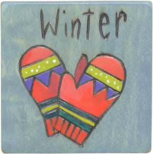 """Winter"" mittens magnet to mark the change of seasons on your large calendar"