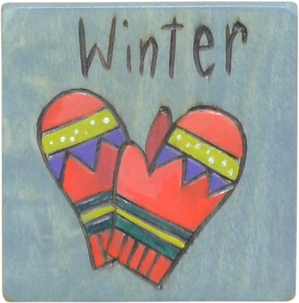 Set of seasonal scene and icon magnets to mark the changing seasons on your large Sticks calendar, winter mittens magnet