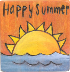 """Happy Summer"" magnet with a sun over water design"