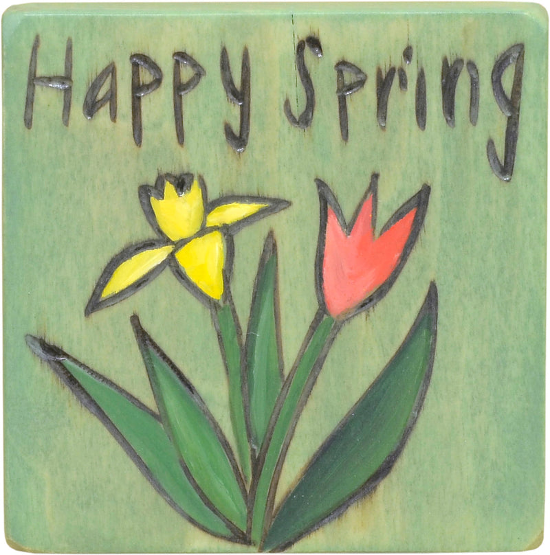 """Happy Spring"" daffodil and tulip magnet motif"