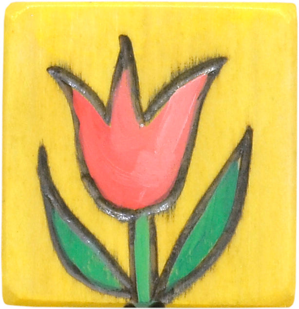 Bright flower icon magnet to mark the first day of Spring