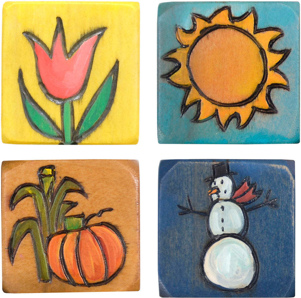 Small Perpetual Calendar Magnet Set –  Set of four seasonal icons to mark each changing season on your small calendar