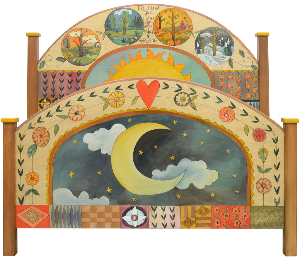 Gorgeous celestial four seasons themed bed design with patterned, quilted accents, headboard and footboard set