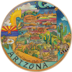 """Desert Dreams"" Lazy Susan – ""The grand canyon state"" geographical Arizona state motif front view"