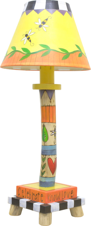 Log Candlestick Lamp –  Crazy quilt lamp base and coordinating shade done in a sunny color palette