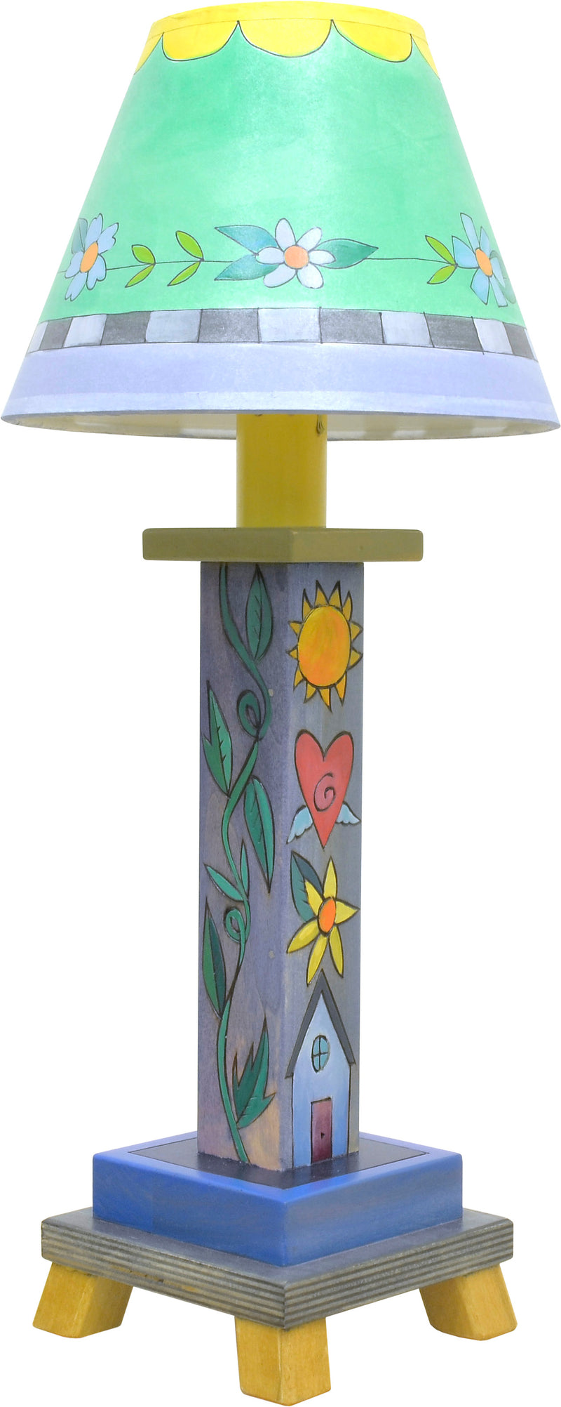 Milled Candlestick Lamp –  Cool-toned stacked icon lamp base motif with a sweet shade filled with flowers and scallops