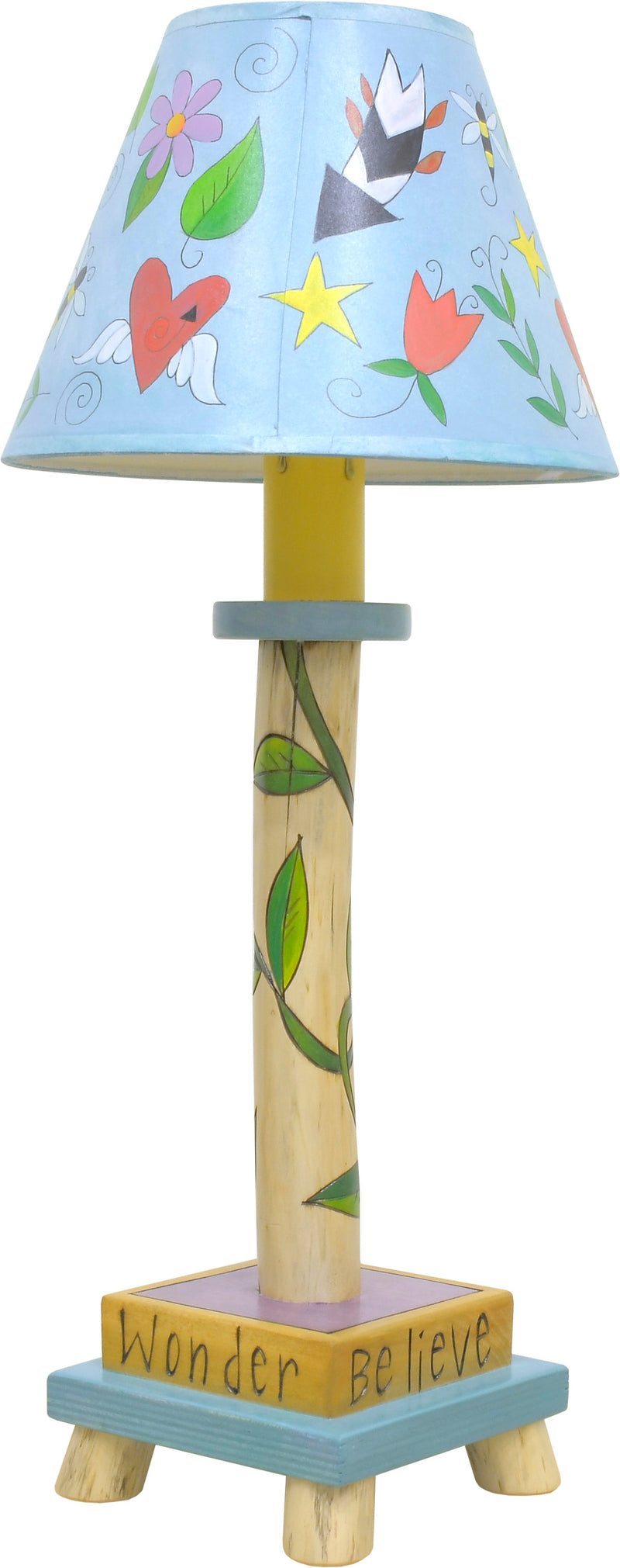 Log Candlestick Lamp –  Dreamy floating icon and vine motif log lamp