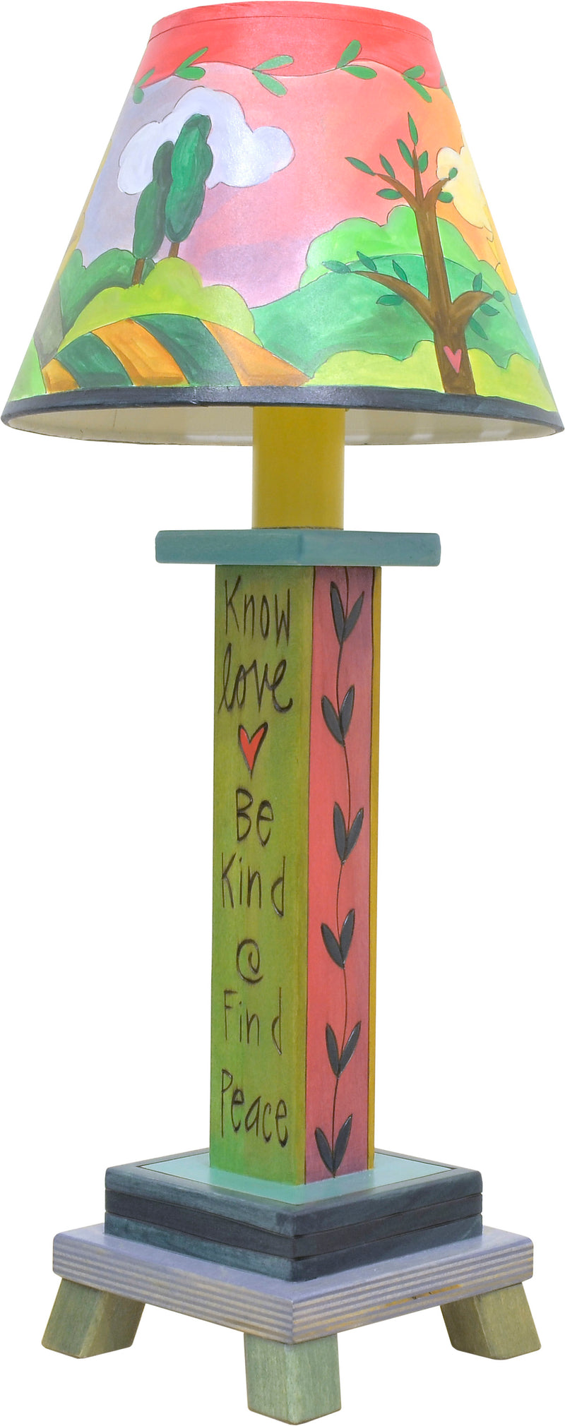 Milled Candlestick Lamp –  Beautiful landscape shade with tree of life and inspirational phrases on its base