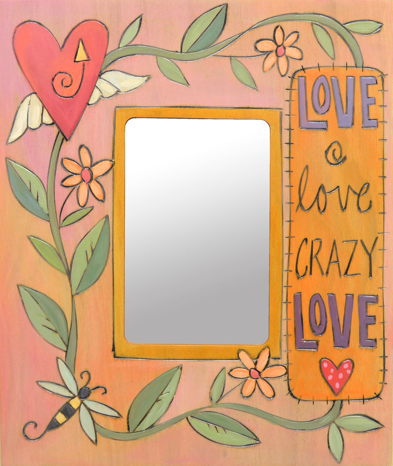 "Pretty ""love love crazy love"" photo frame with wrapping vine motif"