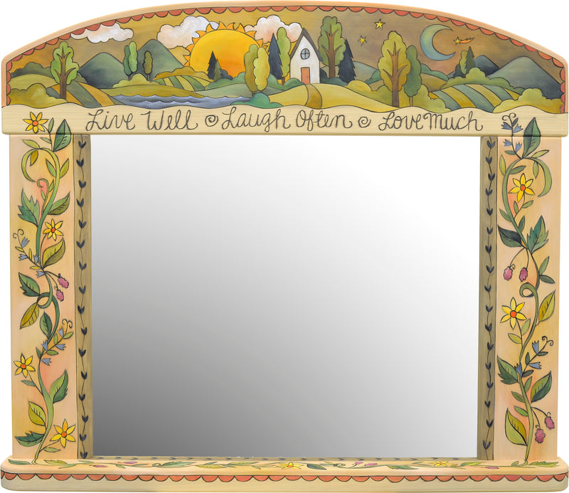 Gorgeous neutral and elegant landscape and floral vine mirror motif